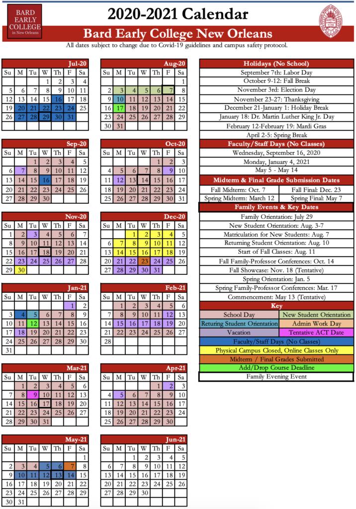 New Orleans School Calendar
